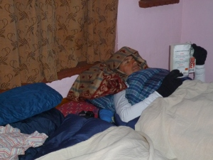 This is Johan sleeping with all his clothes and even gloves on!