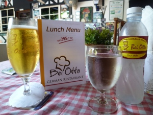 "Lunch ""Bei Otto"" in Bangkok with beer, Wiener Schnitzel, baked potatoes and Suabian potato salad. Mmmmmmh!"