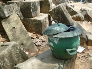 A temple waste basket