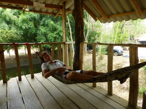 The perfect lunch break: a hut with a breeze in the shade and two hammocks