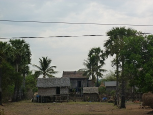 Typical Cambodian houses along the highway