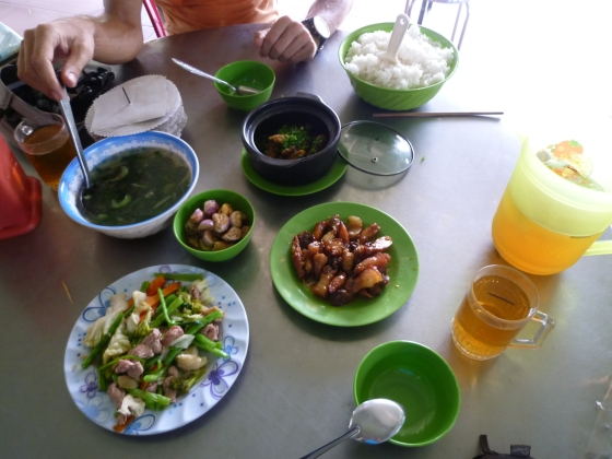 A typical countryside lunch with rice, soup, meat, fish, vegetables and green tea