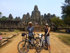 In front of the Bayon at Angkor Thom