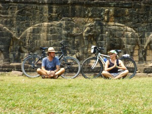 Meditating in front of the elephant gallery at Angkor Thom, the ancient city