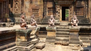 Banteay Srei, a micro-temple of intricately carved reddish stone