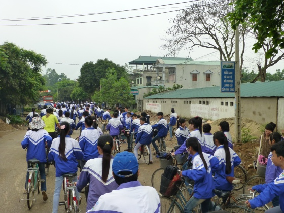 Cycling with the school kids on their way home