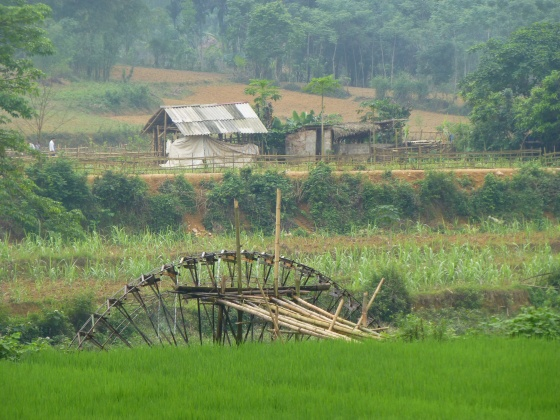 Waterwheel to pump water from the river into the rice paddies