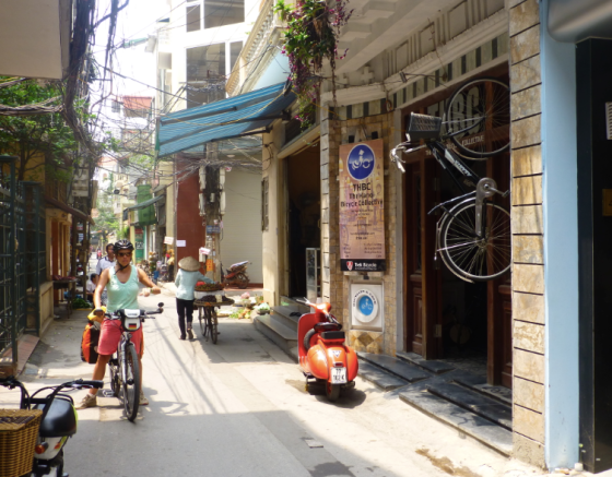 In front of the Hanoi Bicycle Collective