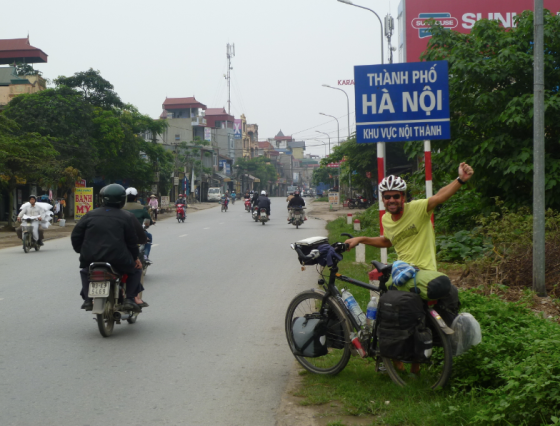 Finally in Hanoi and finally a sign telling us where we are!