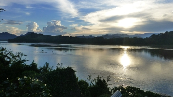 Beautiful sunset at the Mekong