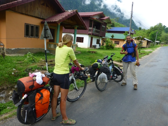 A Czech hitch-hiker hoping for a lift to Louang Prabang