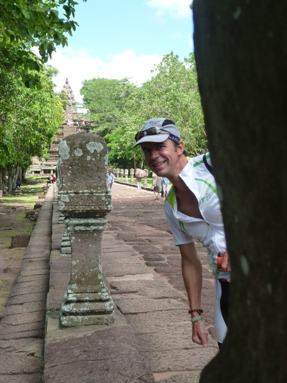 Johan, the cyclist, at the ancient temple