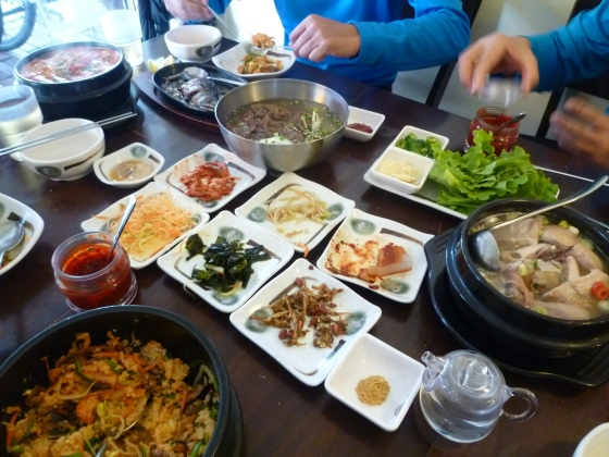 Korean lunch - many small delicacies, the best Asian food ever!