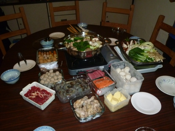 Steamboat - delicious and healthy birthday dinner. It's a little bit like fondue using a broth instead of oil