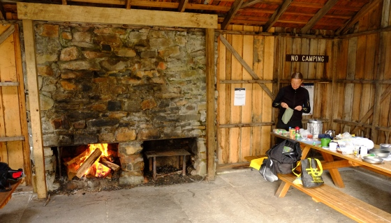 Cooking in the picnic hut