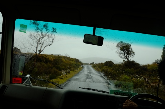 Shuttle bus at Cradle Mountain National Park with a view