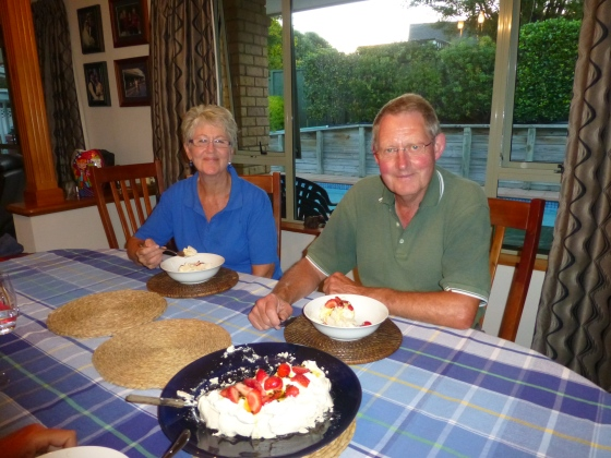 Enjoying the famous Pavlova dessert with our hosts Joy and Peter