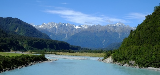 Beautiful blue rivers with water from the glaciers