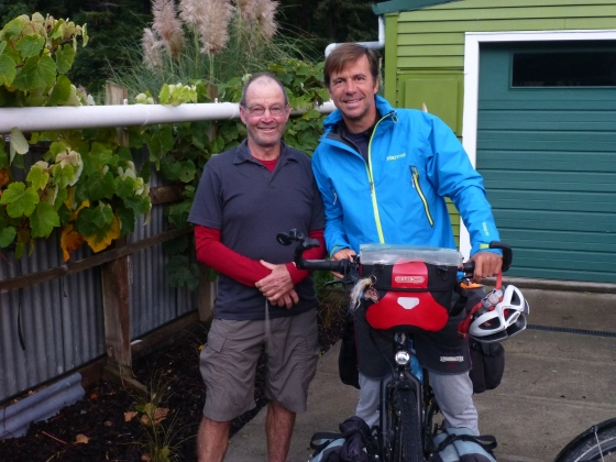 With Don who hosted us after cycling 8 hours in the pouring rain