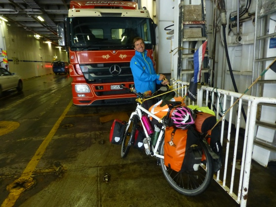 Johan fixing the bikes on the ferry