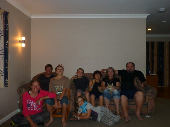Enjoying the hospitality of the Mete family in Auckland, there are still two family members missing!
