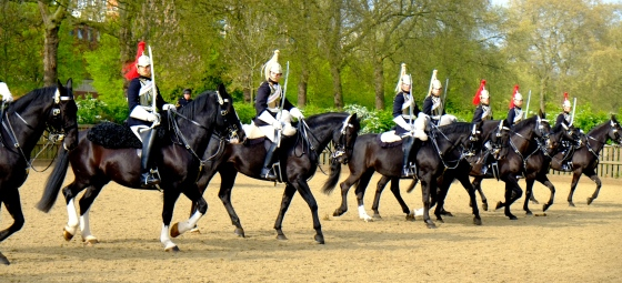 The Queen's guards at their morning exercise