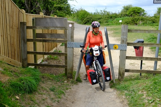 We had to squeeze through a myriad of fences on English bike paths. Sometimes we even had to carry our bikes over the barriers. Long distance bike path planners don't seem to expect cyclists with luggage.
