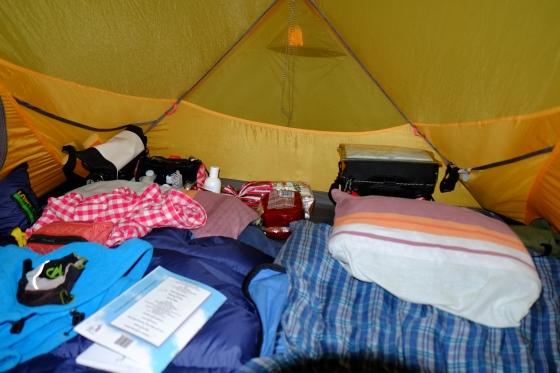 Our 'neatly' organized tent